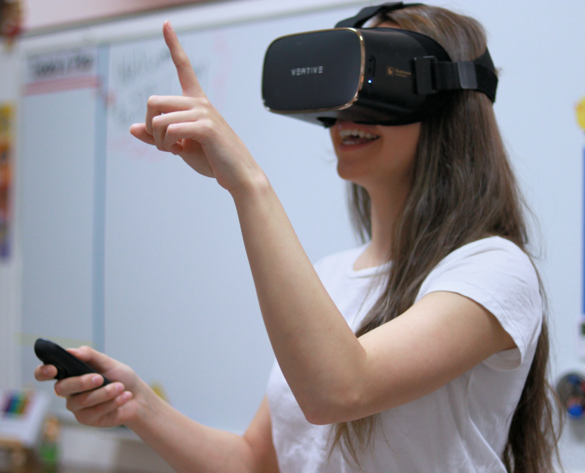 Student with VR headset