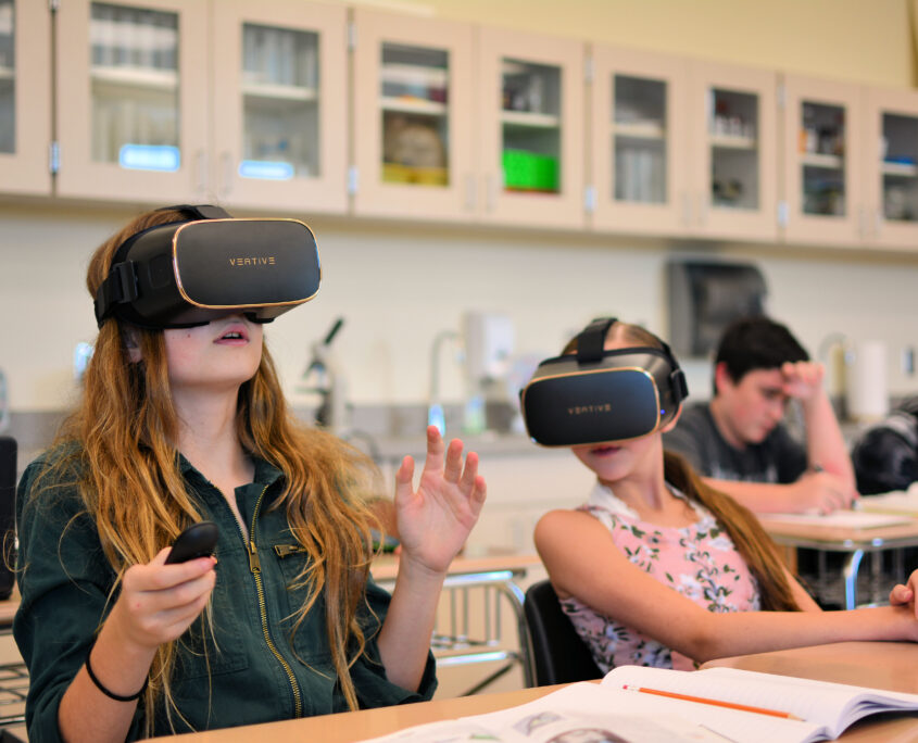 Students with VR headset